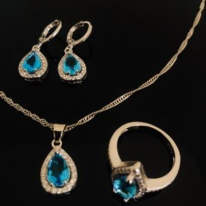 925 STAMPED Water Drop Sterling Silver Jewelry set